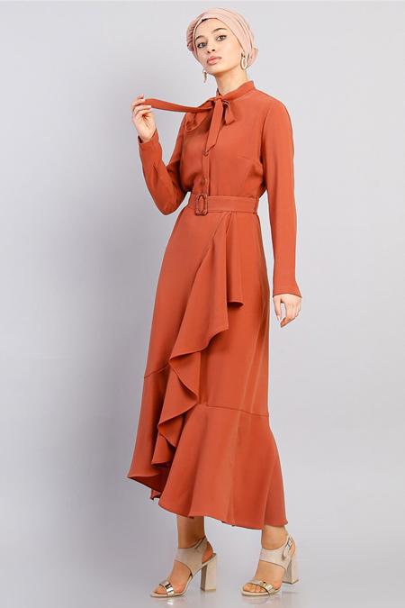 Modamelis Kiremit Volanlı Düğme Detay Elbise