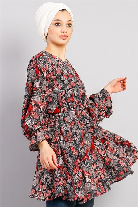 Modamelis Kırmızı Çiçek Desenli Beli Lastikli Tunik
