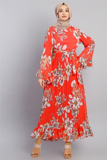 Modamelis Kırmızı Kolları Volanlı Çiçekli Şifon Elbise