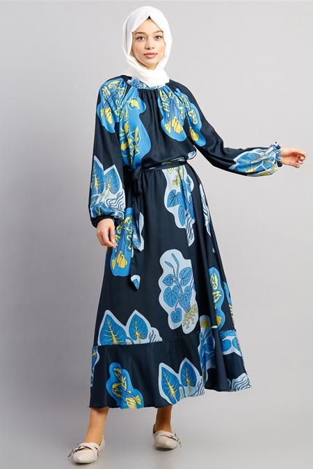 Modamelis Lacivert Beli Kuşaklı Desenli Elbise