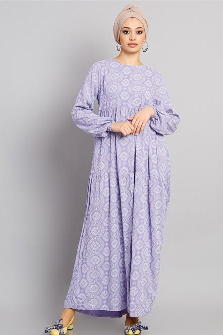 Modamelis Lila Güpür Desenli Elbise