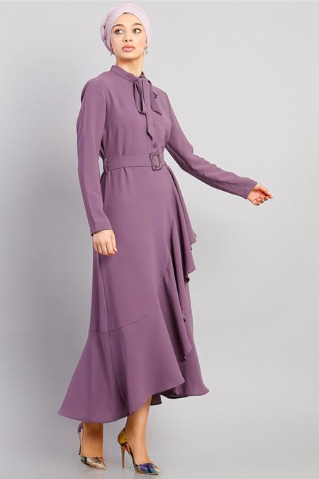 Modamelis Lila Volanlı Düğme Detay Elbise