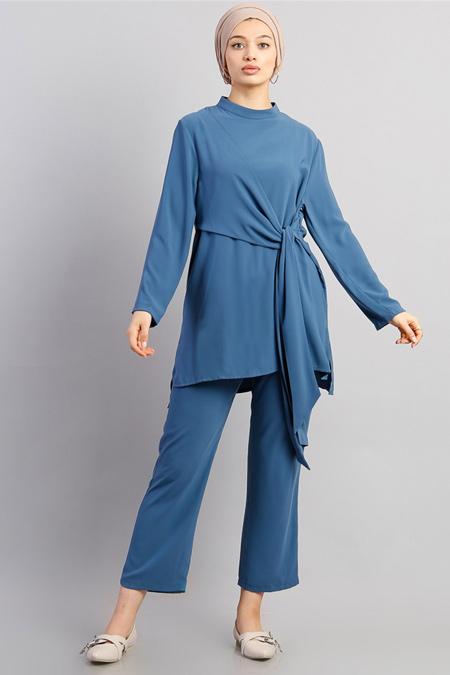 Modamelis Mavi Beli Kuşaklı Pantolon Takım