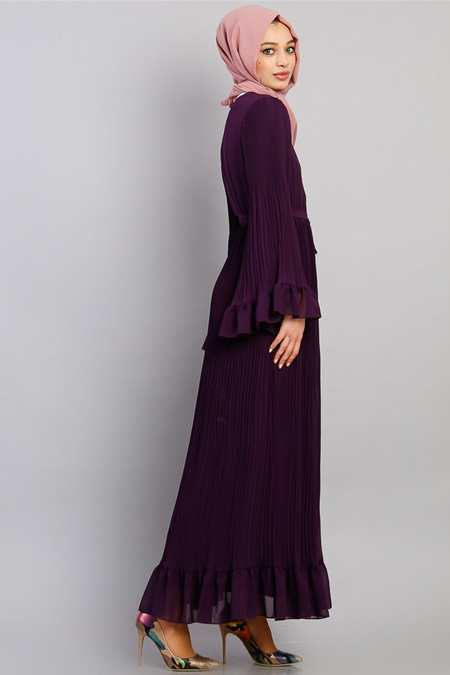 Modamelis Mor Şifon Piliseli Elbise