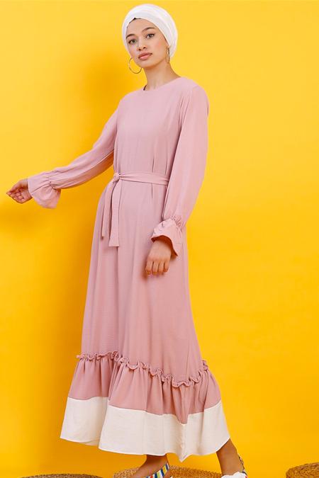 Modamelis Pudra Pembe Eteği Fırfırlı Aerobin Elbise