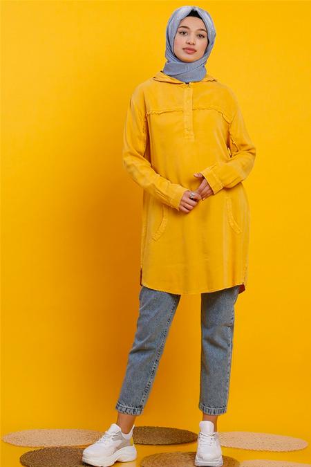 Modamelis Sarı Tencel Tunik Gömlek
