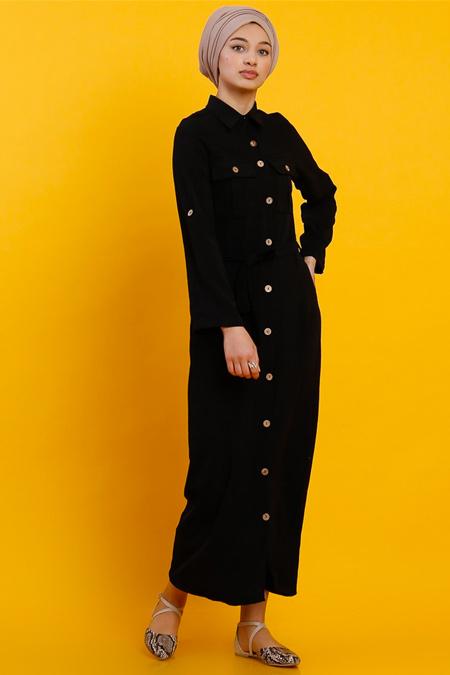 Modamelis Siyah Aerobin Düğmeli Elbise