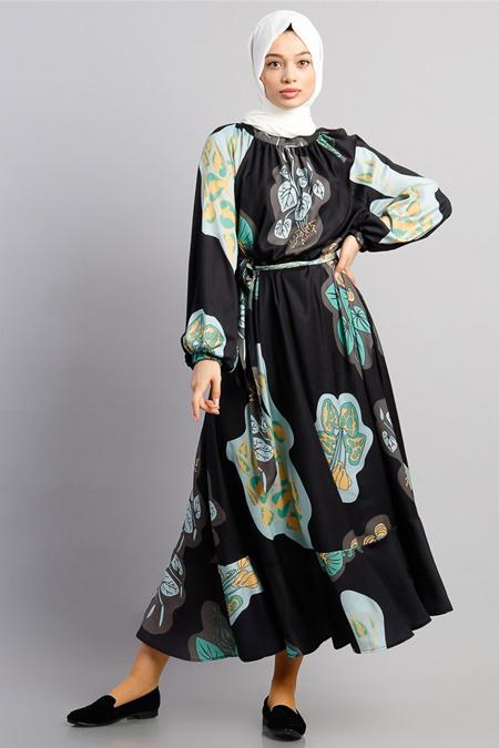Modamelis Siyah Beli Kuşaklı Desenli Elbise