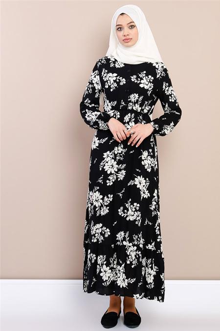 Modamelis Siyah Çiçekli Beli Büzgülü Elbise