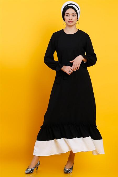 Modamelis Siyah Eteği Fırfırlı Aerobin Elbise
