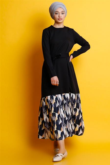 Modamelis Siyah Etek Ucu Desenli Elbise