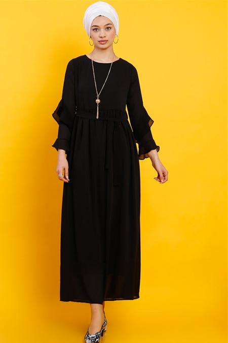 Modamelis Siyah Kolu Volanlı Şifon Elbise