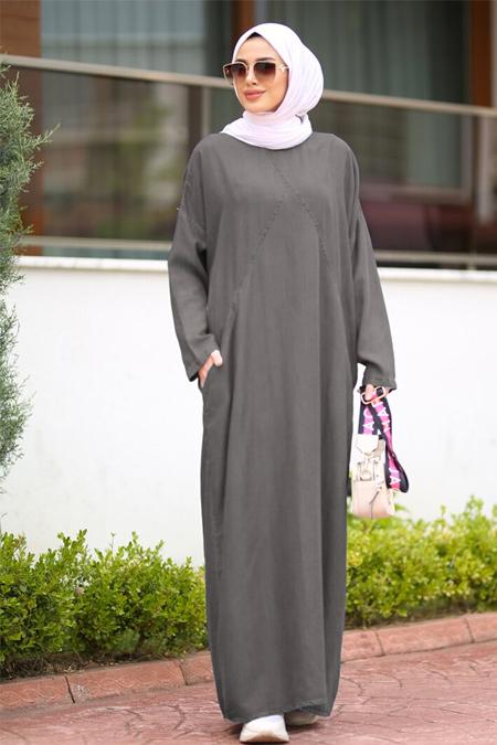 Neways Gri Cepli Tensel Elbise