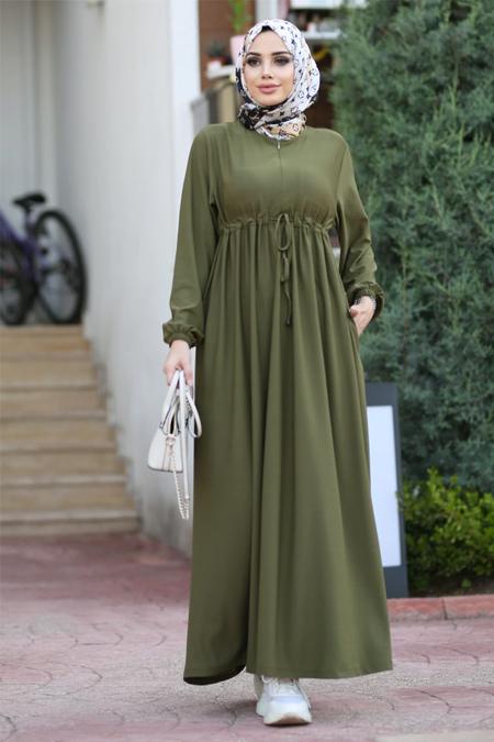 Neways Haki Beli Bağcıklı Elbise