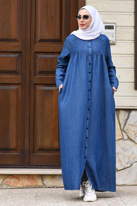 Neways Koyu Mavi Nervürlü Tensel Elbise