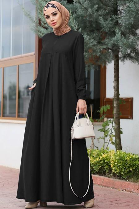 Neways Siyah A Pile Kot Elbise