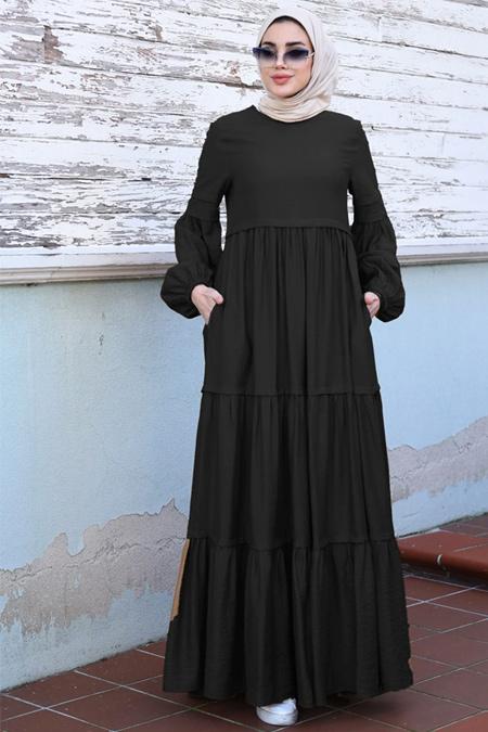 Neways Siyah Balon Kol Detaylı Elbise