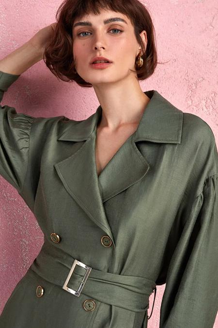 Nocturne Haki Geniş Yaka Kruvaze Ceket Elbise