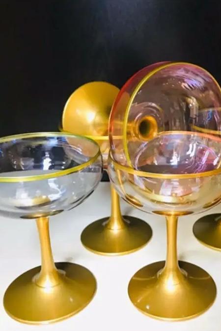 Paşabahçe Gold Detaylı Renkli 6'lı Dondurmalık Cup Kase