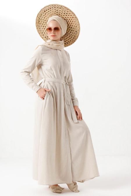 Phull Bej Bebe Yaka Elbise