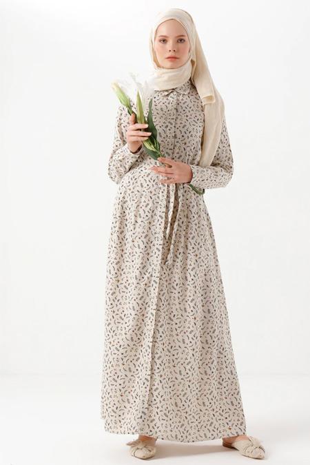 Phull Bej Camel Bebe Yaka Çiçek Desenli Elbise