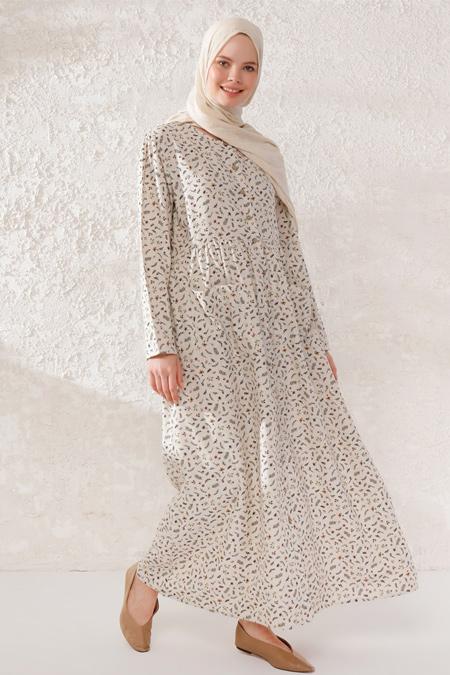 Phull Bej Camel Desenli Elbise
