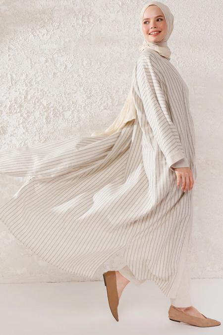 Phull Bej Doğal Kumaşlı Kimono