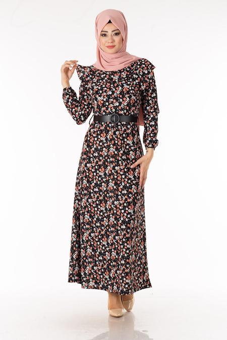 Pudra Çiçekli Kemerli Tesettür Elbise