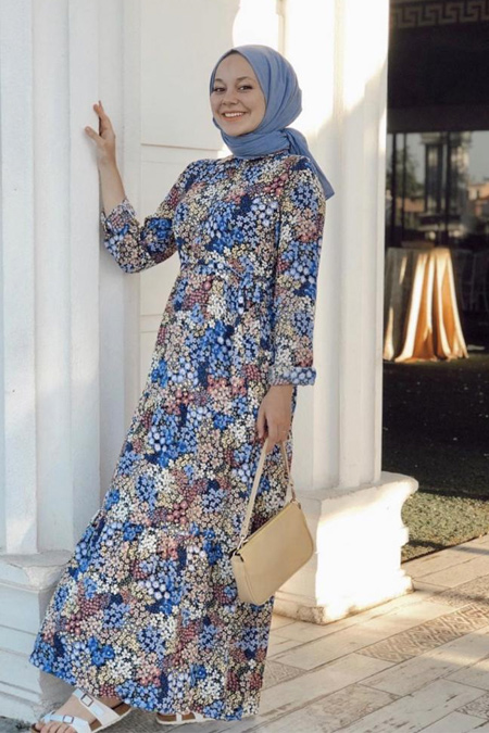 RUBYSCO Renkli Çiçekli Elbise