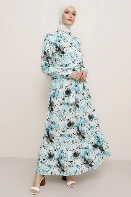 Refka Açık Mavi Doğal Kumaşlı Çiçek Desenli Elbise