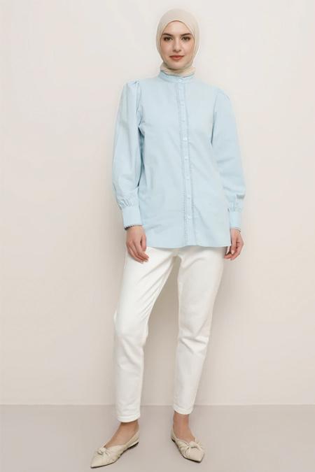 Refka Mavi Doğal Kumaşlı Dantel Detaylı Gömlek