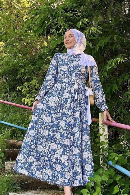 Rubysco Mavi Çiçekli Elbise
