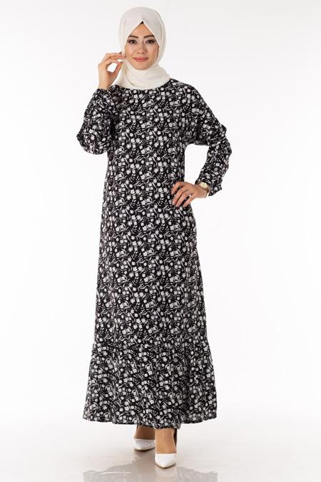 Siyah Çiçek Desen Tesettür Elbise