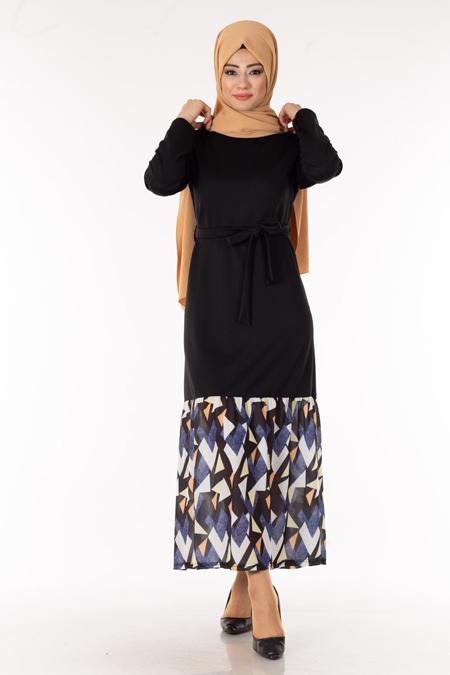 Siyah Eteği Desenli Tesettür Elbise