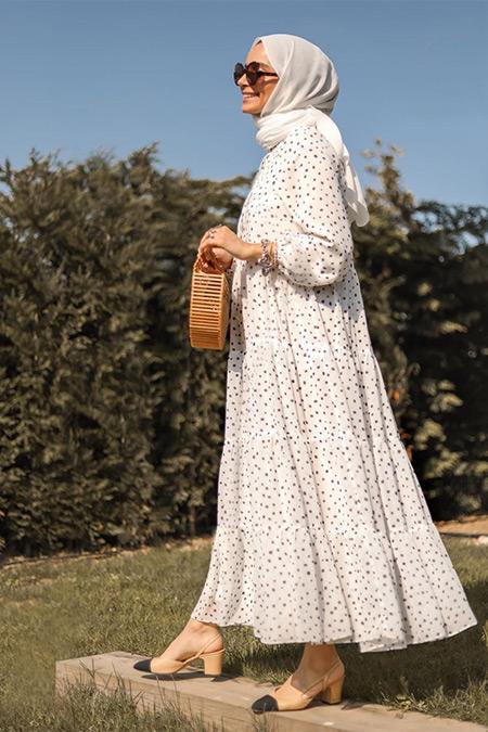 TERZİ DÜKKANI Beyaz Puantiye Desen Kat Kat Şifon Elbise