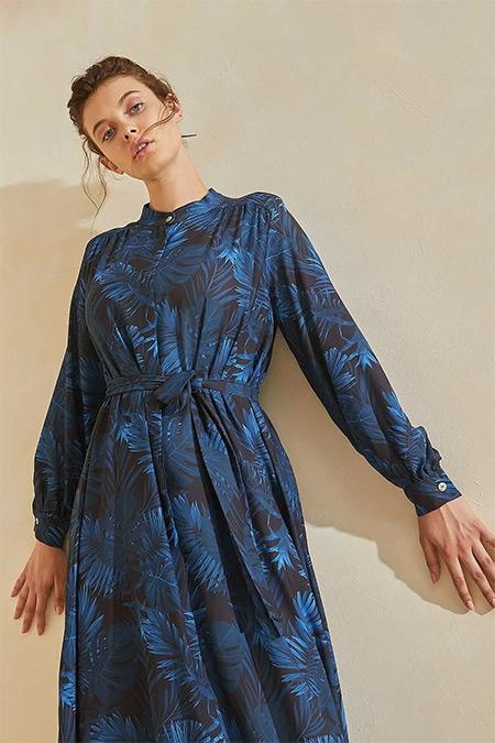 TERZİ DÜKKANI Lacivert Gece Çiçeği Desenli Yaz Elbise