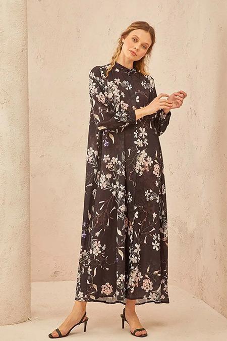 TERZİ DÜKKANI Siyah Çiçek Desenli Yaz Elbise