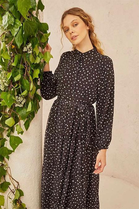 TERZİ DÜKKANI Siyah Puantiye Desen Kat Kat Şifon Elbise