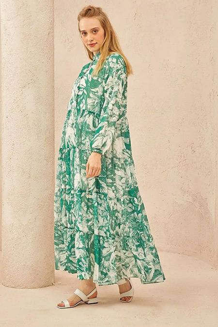TERZİ DÜKKANI Yeşil Çiçek Desen Kat Kat Şifon Elbise