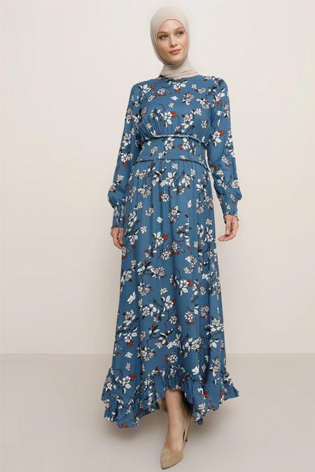 Tavin İndigo Doğal Kumaşlı Çiçek Desenli Elbise