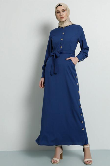Tavin İndigo Yandan Düğme Detaylı Elbise