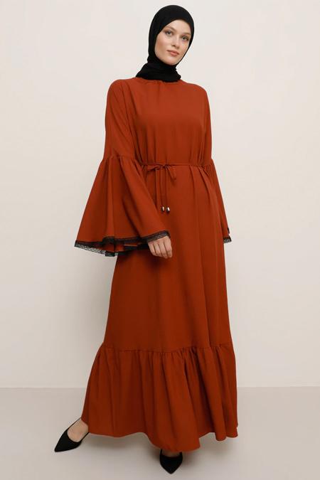 Tavin Kiremit Kol Ucu Güpür Aplikeli Elbise