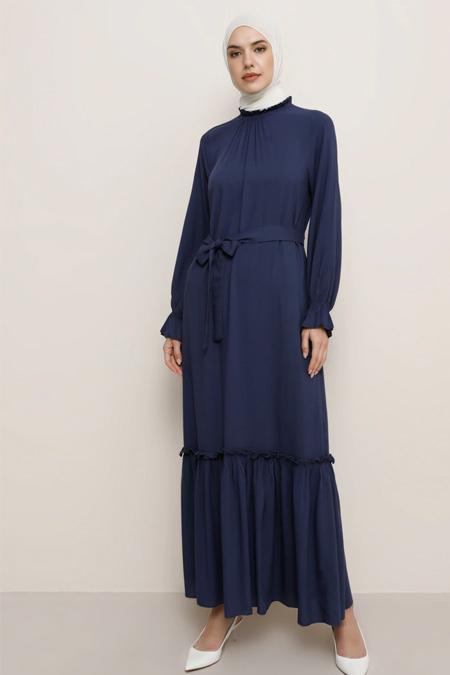 Tavin Lacivert Etek Uçları Fırfır Detaylı Elbise