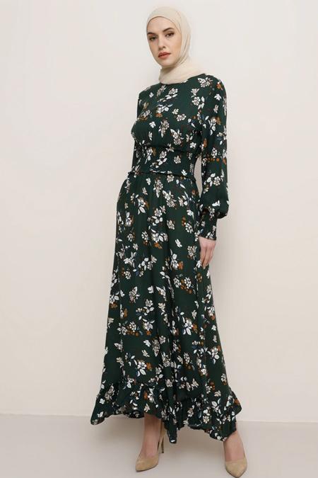 Tavin Haki Doğal Kumaşlı Çiçek Desenli Elbise