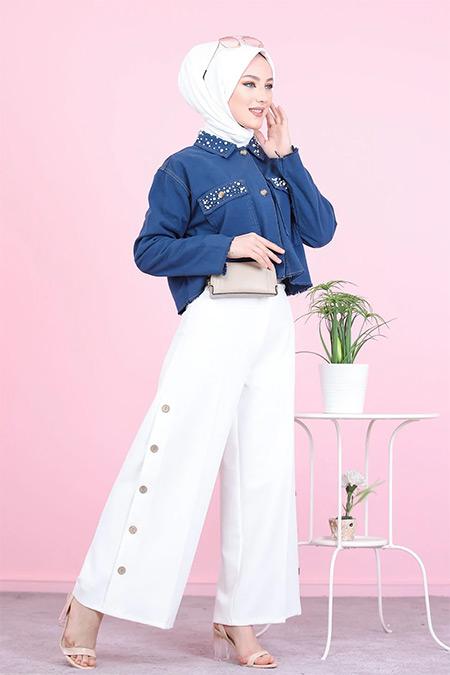 Tofisa Beyaz Tesettür Düğme Detay Pantolon