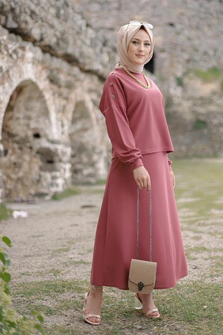 Tofisa Gül Tesettür Tunik Etek Takım