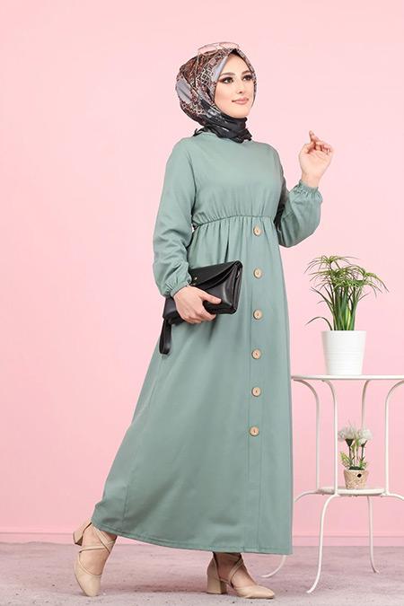 Tofisa Mint Tesettür Elbise