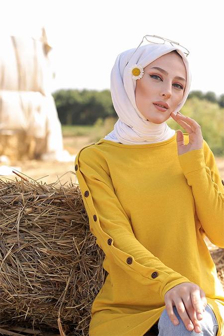 Tofisa Sarı Tesettür Düğme Detay Tunik