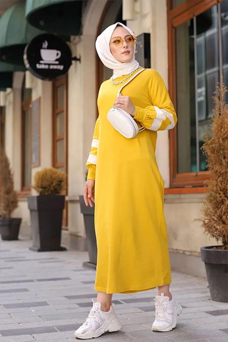 Tofisa Sarı Tesettür Spor Elbise