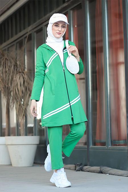 Tofisa Yeşil Tesettür Tunik Pantolon Takım